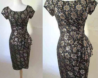 CLEARANCE Sexy 1950's / 1960's cocktail party dress Lurex Brocade on Black with Hip Sash pinup girl rockabilly VLV Size small