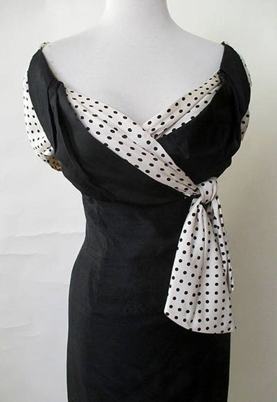 Chic 1950's Designer  Black Silk Cocktail Party Dress with Shelf Bust & Dramatic Trim Curve Hugging Pinup girl Rockabilly VLV Size small