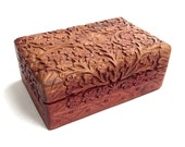 Carved Wood Box, Vintage Indian Carved Wooden Box, Folk Art Keepsake Box, Hand Carved Wooden Box, Wood Trinket Box, Carved Wood Jewelry Box