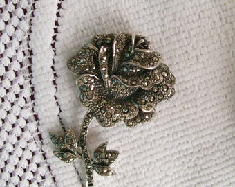 Large MARCASITE ROSE PIN Vintage 1950s  25 grams  Collectible Marcasite