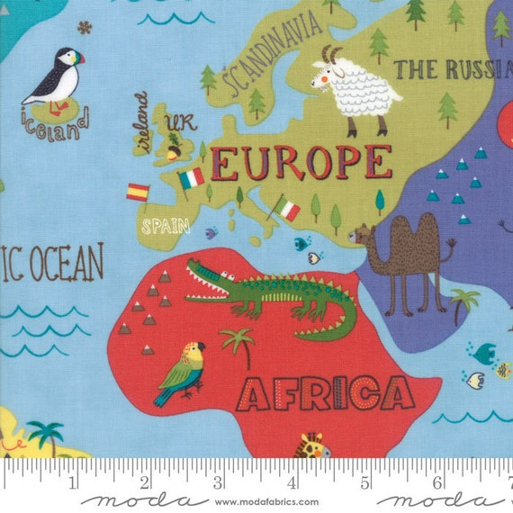Hello world map sky fabric moda 35300 17 bty one 1 yard for Children of the world fabric