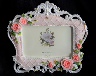 VICTORIAN PICTURE FRAME Photo Coral Pink Rose Photograph Jewel Rhinestone Scallop Easel Flower Floral Lattice Scroll Design Holder Scrolly