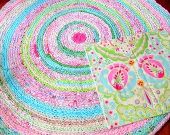"rag rug, baby bedding, custom made Lilly Pulitzer bedding, ""braided"" rug, kumari garden, lavender rug, girl crib bedding, crib skirt"