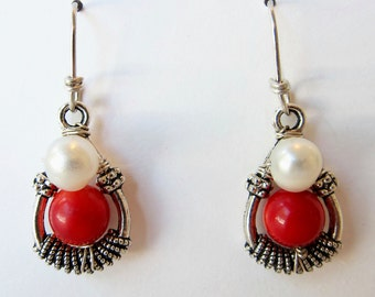 Earrings, Teardrop, Red & White, Fresh Water Pearl, Red Bamboo Coral, Sterling Silver Wires