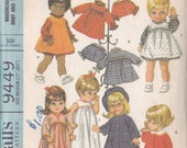 "Baby Doll Wardrobe  Pattern Mc Call's 9449 Ensemble For 17 ~ 18 1/2"" Doll ~ Coat ~ Hat ~ Dress ~ Jumper Nightgown Cut But Complete"