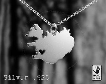 ICELAND Map Handmade Personalized Sterling Silver .925 Necklace in a gift box