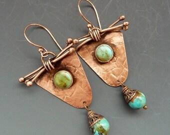 Copper And Turquoise Earrings, Copper Jewelry, Dangle Earrings, boho earrings, rustic earrings, long earrings, handmade earrings