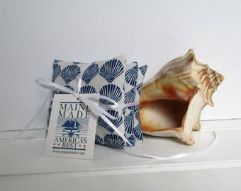 Maine Balsam Fir Sea Scallop Shell Sachet Set of 3 Pine Scent Ready to Ship