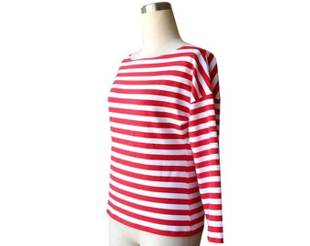 SALE Striped long sleeve cotton top, Boatneck loose top, Red stripe top, White stripe top, Handmade tshirt/top, Size Large, US 12-14 top