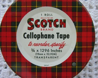 Vintage Scotch Tape Tin Filled with Colorful Map Tacks Red & Green Tartan Plaid Round Tin