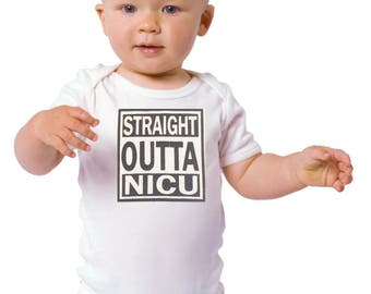 Funny Baby Onesie/ Baby Bodysuits/ Straight Outta NICU/ Baby Gift