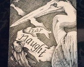 "Original 4"" x 4"" pen and ink crosshatch drawing: 'Fear Naught' (Heron, ribbon, fish)"
