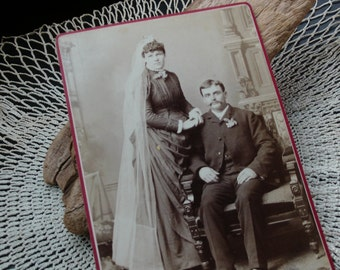 Vintage Cabinet Card, Wedding, Formal Couple, Early 1900s, Victorian, Edwardian, Home Decor, Craft, Scrapbooking, Mixed Media