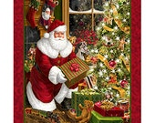 "Best Time of Year Santa and Christmas Tree Panel-36"" Panel"