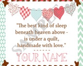 Under a Quilt Heart Banner Fabric Quilt Label Set of 20