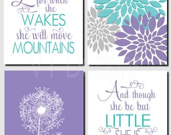 Girl Nursery, Kids Wall Art, Purple Teal Aqua, Brooklyn Nursery, Let Her Sleep, And though she be but little, Set of 4 Prints or Canvas