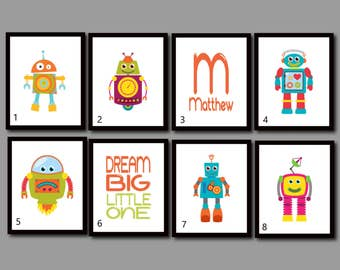 Robot Nursery Art, Robot Wall Art, Robot Pictures, Boy Room Decor, Dream Big Little One, Name, Personalized, Make Your Own Set, Prints
