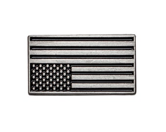 Upside down American flag pin. Antique silver protest enamel pin. USA flag lapel.