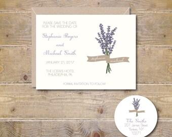 Save The Dates, Wedding Save The Dates, Lavendar,  Flowers, Floral Save The Dates, Wedding, Affordable Wedding, Simple Wedding