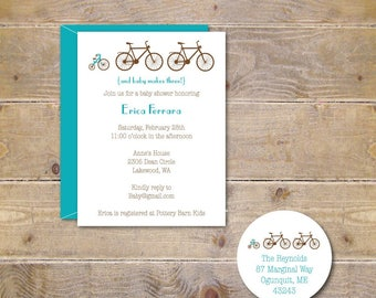 Bicycle Baby Shower Invitation, Bicycle Invites, Baby Shower Invitations, Bicycles, Tricycle, New Baby Announcement