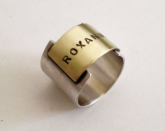 customized mens ring rustic silver oxidized ring, personalized mens ring,initial ring,silver mens ring bronze rustic ring  gift for him