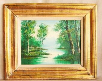 Vintage Landscape Painting, Original Fine Art, River, Nature, Oil Painting, Framed, Serene, Shoreline, Greens, Framed, Gilt, Woodland Scene