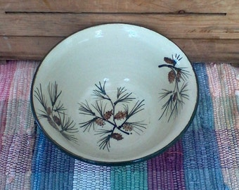Large handmade pottery bowl - 32 oz bowl - Handmade ceramic serving bowl - Large Rustic Pottery Bowl in Pinecone 1717