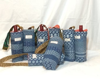 WINE CARRY BAGS quilted sweet wine tote handmade Shweshwe