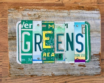 GREENS Collard,Kale, Turnip, Mustard license plate sign tomboyART art recycled and upcycled pig BBQ tomboyART tomboy art SouL FooD