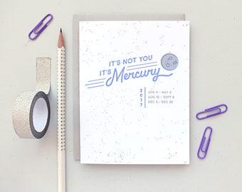 mercury retrograde 2017 letterpress card