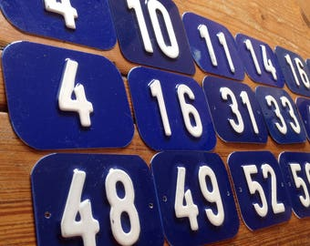 Vintage blue and  white,embossed hard plastic house numbers.