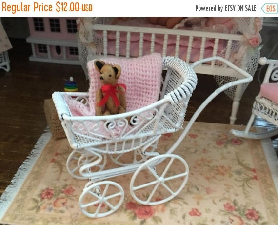 SALE Miniature Baby Buggy, White Wire Buggy, Dollhouse Miniature, 1:12 Scale, Mini Stroller, Dollhouse Nursery
