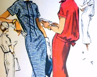 Wonderful ©1958 Sheath Dress with Blouson Back Option McCall's 4396 - 35 Bust - Sleek Wiggle Dress - Bloused Back Dress
