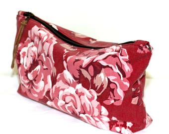 Upcycled Red and Pink Floral Cotton Zip Pouch Cosmetic Bag Clutch