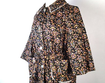 Vintage 70s, Quilted Bed Jacket, House Coat, Black Floral, Calico, Cotton, Rick Rack, Eaton's Vanity Fair, Prairie, Plus Size, New Old Stock