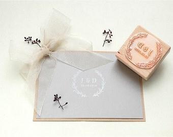 Wedding stamp | Floral Wreath Stamp | Floral Wedding Stamp | Wedding Favor Stamp | Initial Stamp | Monogram Stamp | Custom Wedding Stamp