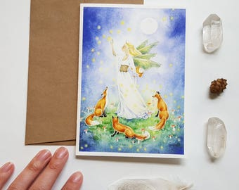 Fairy Art Note Card - Catching Fireflies - fantasy art. fox. animal. watercolor. whimsical. magic. moon. night. greeting card.