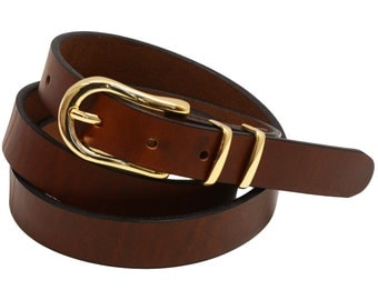 """Men Or Women's 1"""" Narrow Dress Belt Retanned Walnut Leather 3-piece Buckle And Double Loops Set Light Gold Finish Made In USA"""