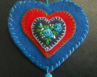 Embroidered floral wool felt heart ornament blue and red