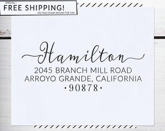 Custom Address Stamp, Self Inking Address Stamp, Wedding Return address stamp, Calligraphy Address Stamp, or Eco Mount stamp - Hamilton