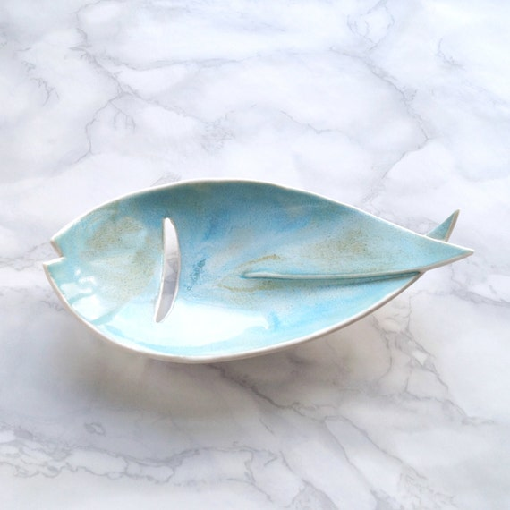 FISH ceramic soap dish with turquoise glaze, drain hole, porcelain bathroom accessory pisces