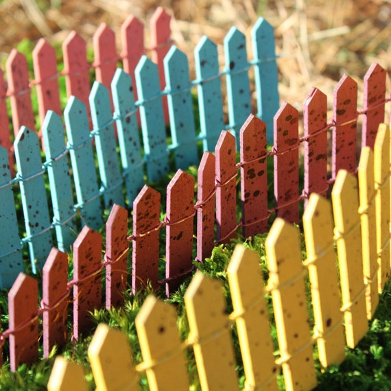 Cheerful Fences for the Fairy Garden (Yellow, Burnt Red, Blue or Salmon)