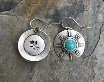 turquoise Earrings in Sterling Silver. Designer Cabochon Jewelry for Charity. EC18
