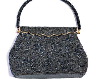 Vintage Retro 1950s Pearly Black Seed Bead Fancy Evening Purse Gold Metal Frame