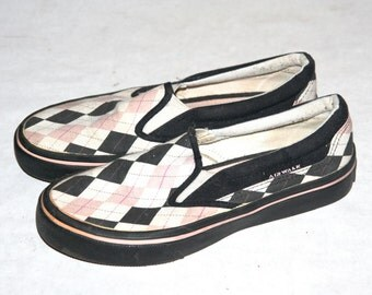 Cool Vintage 90's Argyle Print Airwalk Skate Shoes- Size 8.5 US