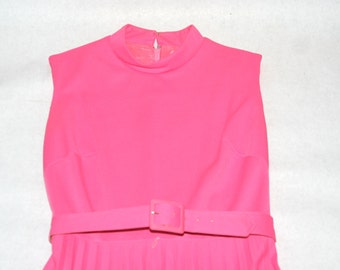 Super Fab Candy Pink Vintage Maxi Dress with Pleated Skirt- Size 6/8 US