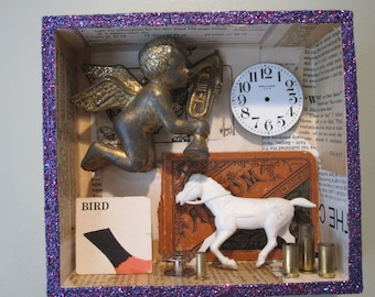 3D mixed media assemblage, shadow box, found object art