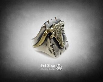 The bull biker Ring Mexico Mexican Silver 925 Handmade EZI ZINO