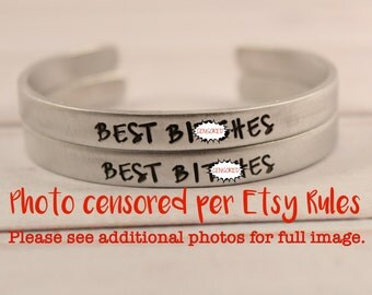 Best B*tches SET  - Cuff Bracelets - Your choice of pure aluminum, copper, brass or sterling silver
