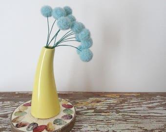 Pom pom Flowers - Round Bouquet - Pastel Blue Billy Balls - Faux, fake Flowers - Felt wool Balls - Atomic, Sputnik Decor - Glacier Ice Blue